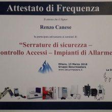 """Attestato """"Serrature di sicurezza - Controllo accessi - Impianti di Allarme"""""""